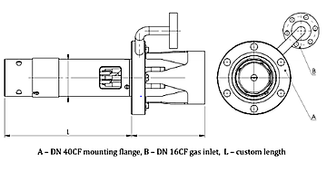 Ion Source Technical Drawing  | © Scienta Omicron